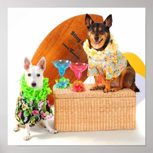 Tropical  Beach Party Dogs in Hawaiian BeachGear Print