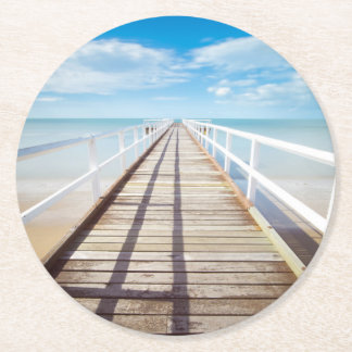 Tropical Beach Pier Round Paper Coaster