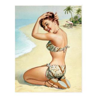 Tropical Beach Pin Up Postcard