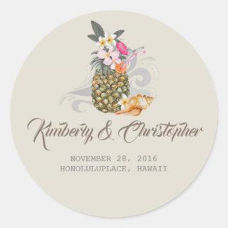 Tropical Beach Pineapple Wedding Classic Round Sticker