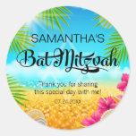Tropical Beach Pink Hibiscus Bat Mitzvah Round Sticker