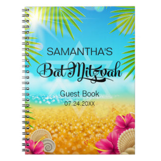 Tropical Beach Pink Hibiscus Guest Book