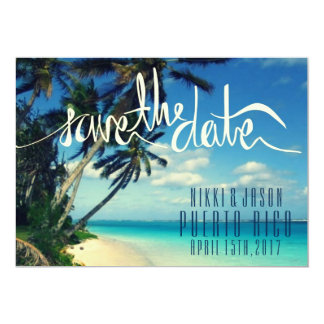 Tropical Beach Puerto Rico Wedding Save the Date 13 Cm X 18 Cm Invitation Card