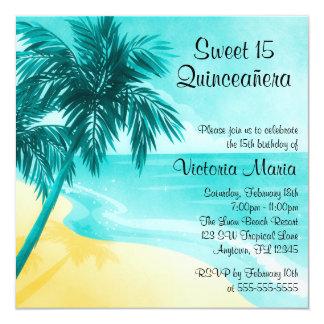 Tropical Beach Quinceanera Birthday Invitations