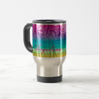 tropical beach rainbow filter travel mug