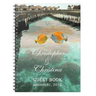 Tropical Beach Reef Wedding Guest Book Planner Spiral Note Book
