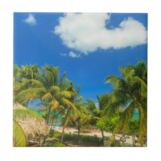 Tropical beach resort, Belize Ceramic Tile