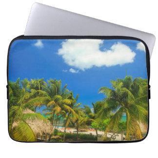 Tropical beach resort, Belize Laptop Sleeves