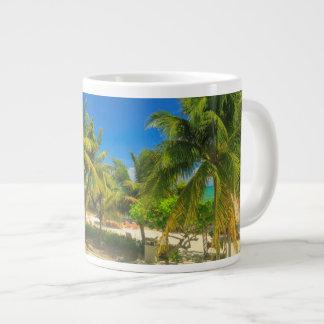 Tropical beach resort, Belize Large Coffee Mug
