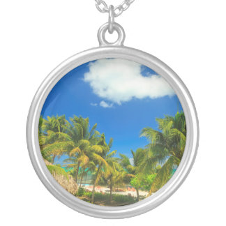 Tropical beach resort, Belize Silver Plated Necklace