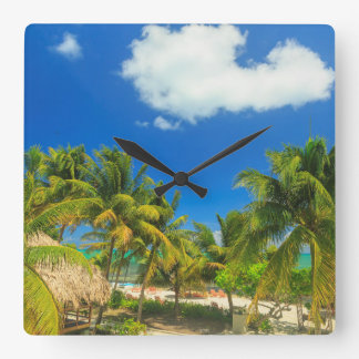 Tropical beach resort, Belize Square Wall Clock