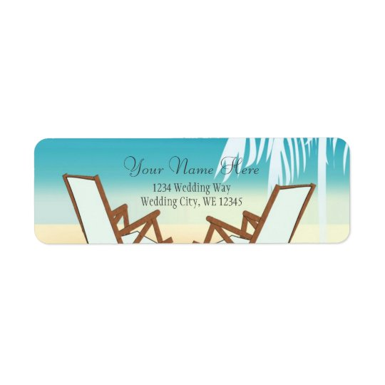 Tropical Beach Romance- Palm tree with hearts Return Address Label
