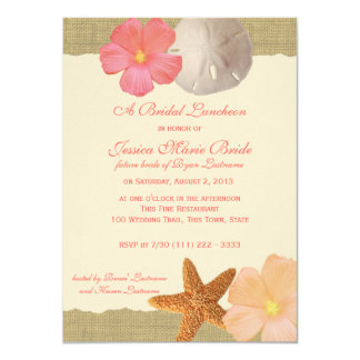 Tropical Beach Rustic Bridal Luncheon 11 Cm X 16 Cm Invitation Card