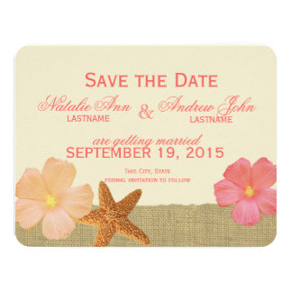 Tropical Beach Rustic Save the Date Card
