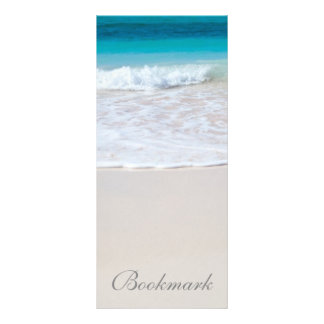 Tropical beach sand and ocean custom name bookmark rack cards