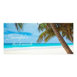 Tropical beach sand and ocean custom name bookmark rack cards