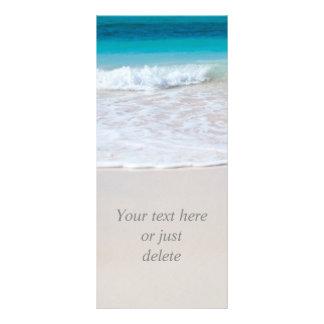 Tropical beach sand and ocean custom rack card