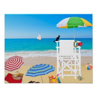 Tropical Beach Sand Lifeguard Tower Poster