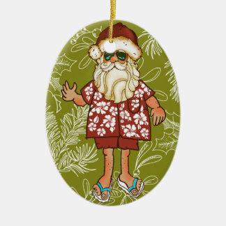 Tropical Beach Santa Christmas Ornament