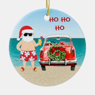 Tropical Beach Santa with Classic Car Christmas Ceramic Ornament