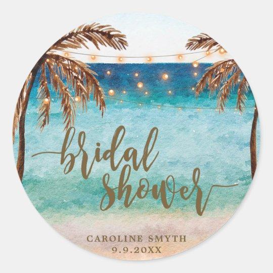 tropical beach scene bridal shower favours sticker