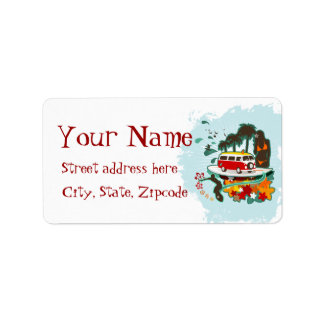 Tropical Beach Scene Label