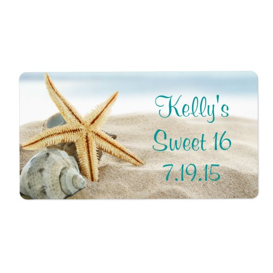Tropical Beach Sea Shell Sweet 16 Favour Label