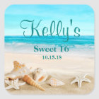 Tropical Beach Sea Shell Sweet 16 Favour Labels