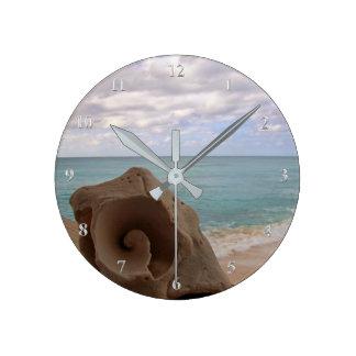 Tropical Beach Seashell Caribbean Island Round Clock
