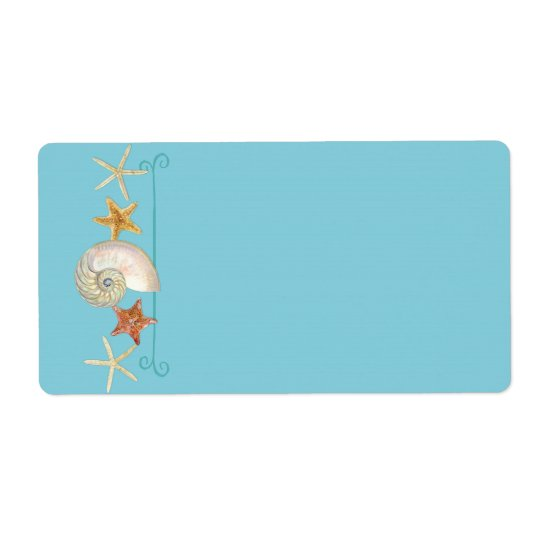 Tropical Beach Shells Starfish Nautilus Summer Shipping Label