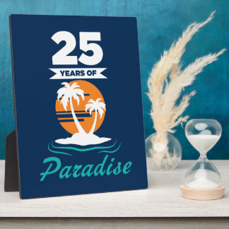 Tropical Beach Silver 25th Wedding Anniversary Display Plaque