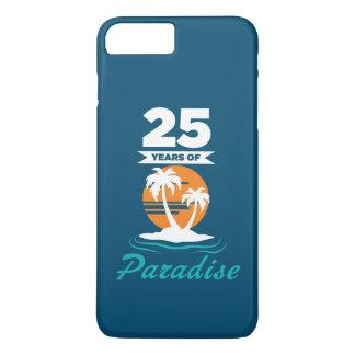 Tropical Beach Silver 25th Wedding Anniversary iPhone 8 Plus/7 Plus Case