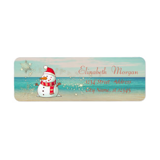 Tropical,Beach,Snowman,Snowflakes Return Address Label