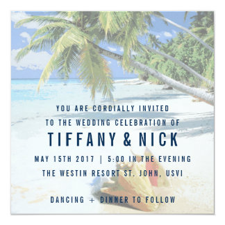 Tropical Beach St. John, USVI Wedding Invitations