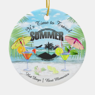 Tropical Beach, Summer Vacation | Personalized Ceramic Ornament