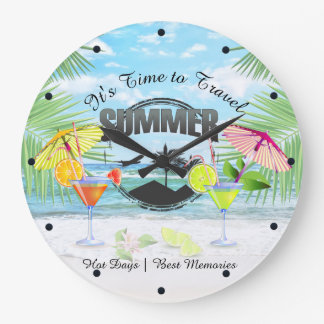Tropical Beach, Summer Vacation | Personalized Large Clock