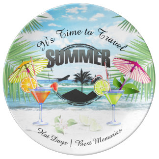 Tropical Beach, Summer Vacation | Personalized Plate
