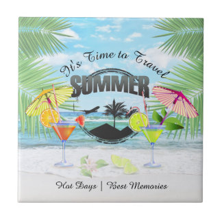 Tropical Beach, Summer Vacation | Personalized Tile