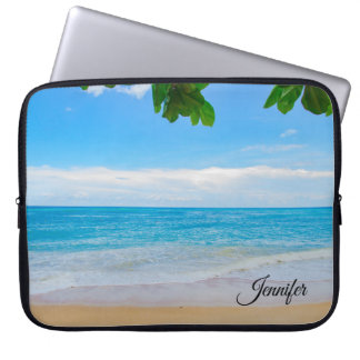 Tropical Beach Sun Sand and Sea Custom Laptop Sleeve