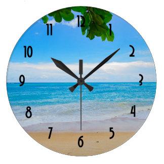 Tropical Beach Sun Sand and Sea Large Clock