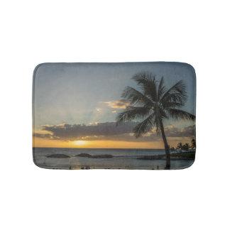 Tropical Beach Sunset Palm Tree Bath Mat