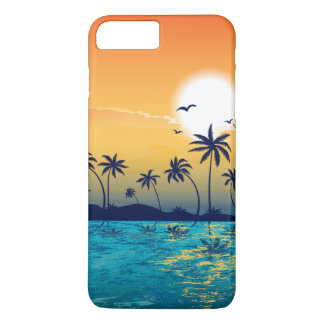 Tropical Beach Sunset Sunrise Palm Trees Ocean iPhone 8 Plus/7 Plus Case