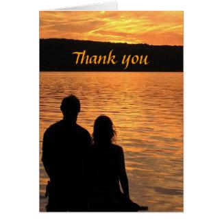 Tropical Beach Sunset Thank You Card