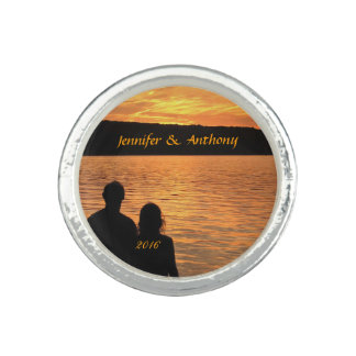 Tropical Beach Sunset Wedding Photo Rings