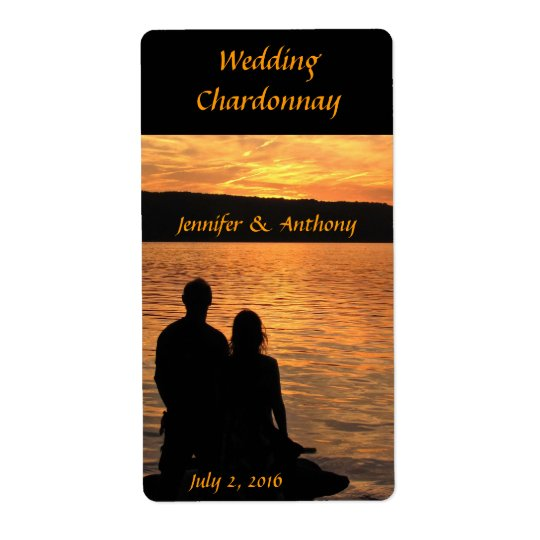 Tropical Beach Sunset Wedding Wine Label Shipping Label