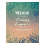 Tropical Beach Teal Wedding Welcome Sign