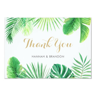 Tropical Beach Thank You Card Bohemian Watercolor