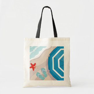 Tropical beach budget tote bag