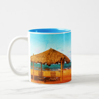 Tropical Beach Two-Tone Coffee Mug