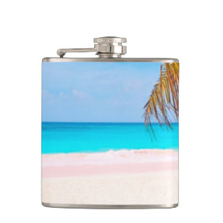 Tropical Beach View Hip Flask